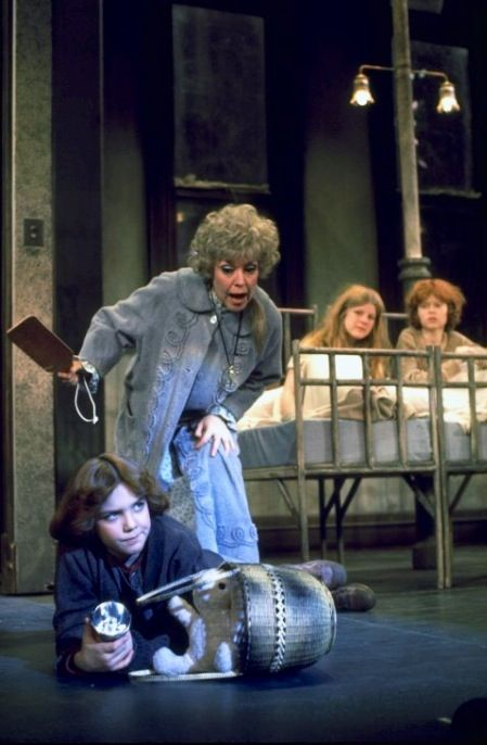 """The Brilliant Dorothy Loudon in her Tony winning performance as Miss Hannigan and Andrea McArdle as the title character in the Original Broadway Production of """"Annie""""."""