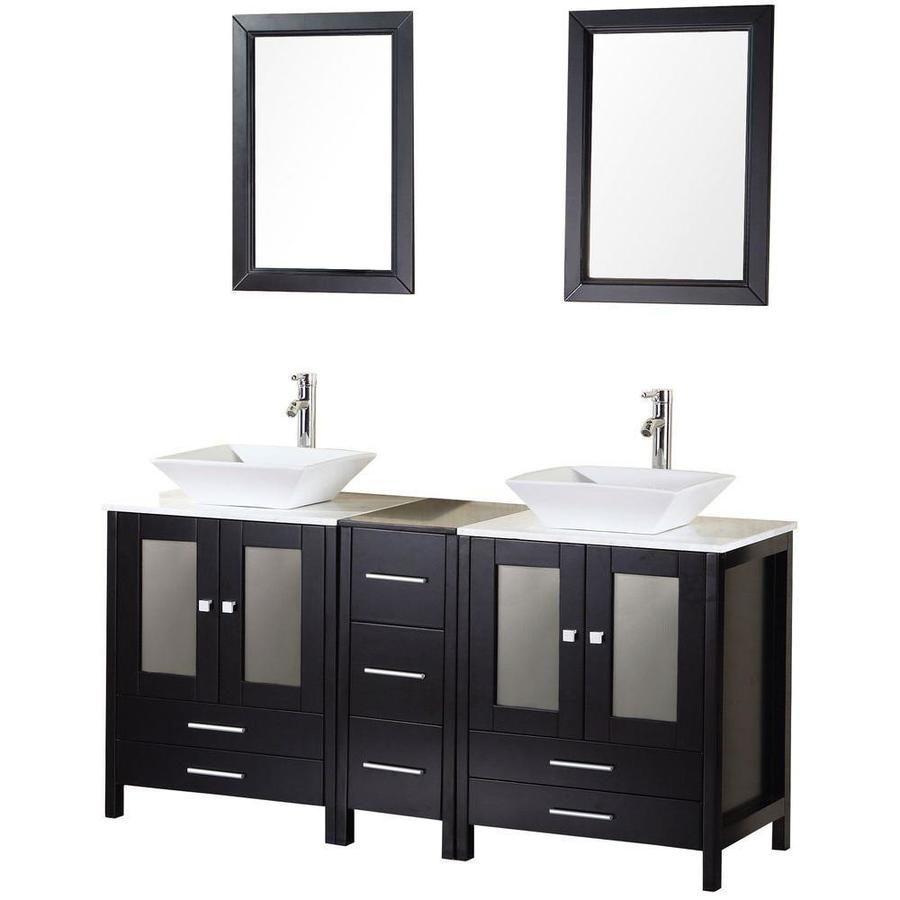 Design Element Designer S Pick 61 In Espresso Double Sink Bathroom Vanity With White Marble Top Mirror Included Dec072 In 2020 Bathroom Sink Vanity Double Sink Vanity Bathroom Vanity Designs