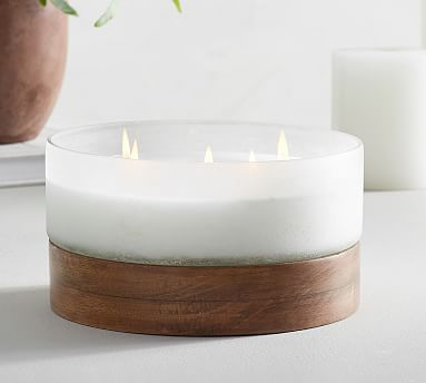 Linen Textured Mercury Glass Scented Candle, Silve
