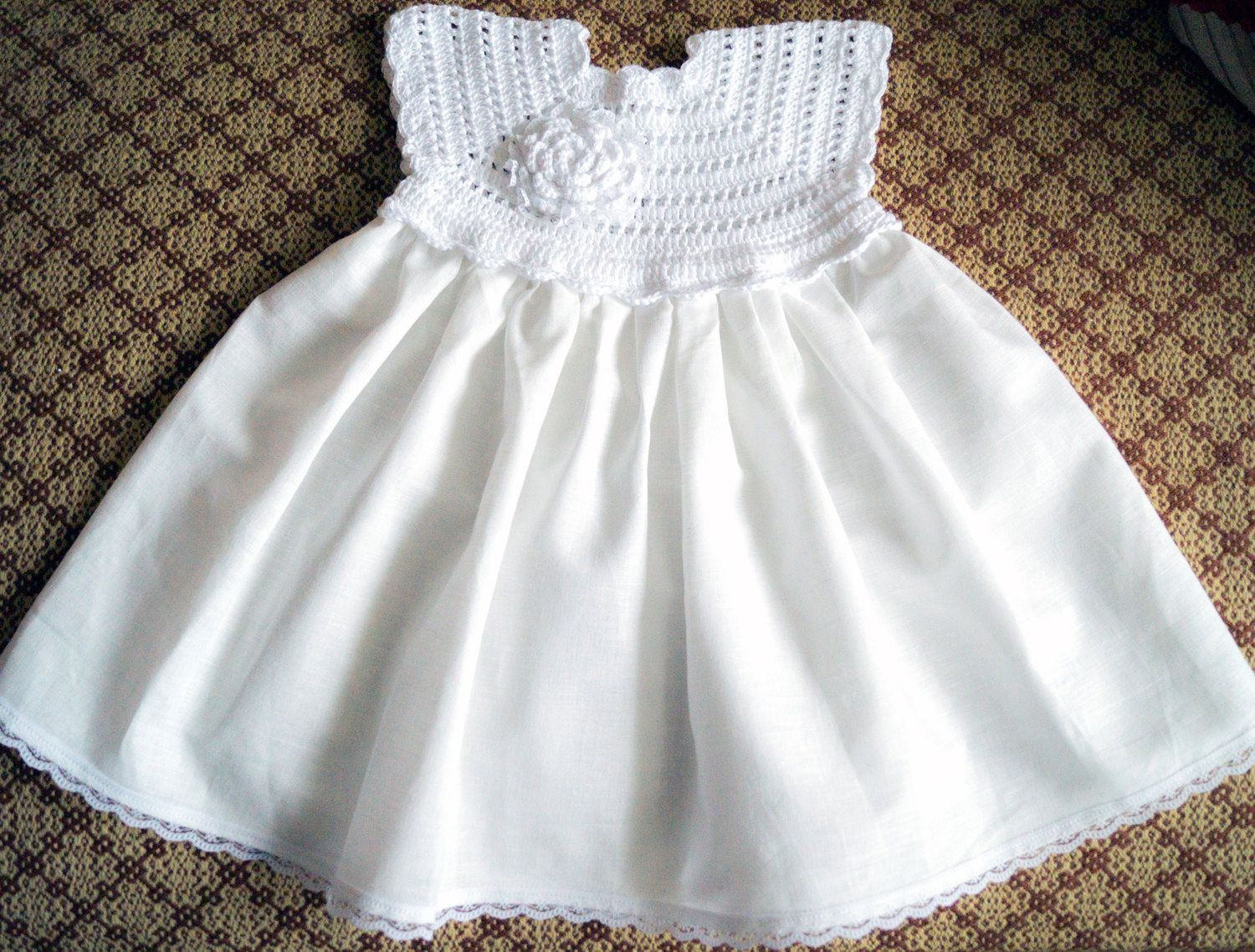 Crocheted white linen christening gown for the baby girl and ...
