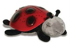 Twilight Ladybug Nightlight~ The stars and Ladybug shell illuminate in three magical colors, emerald green, ruby red, and sapphire blue, all with the touch of a button, to help children sleep easier. It even has a 45 minute automatic switch off. $19.00
