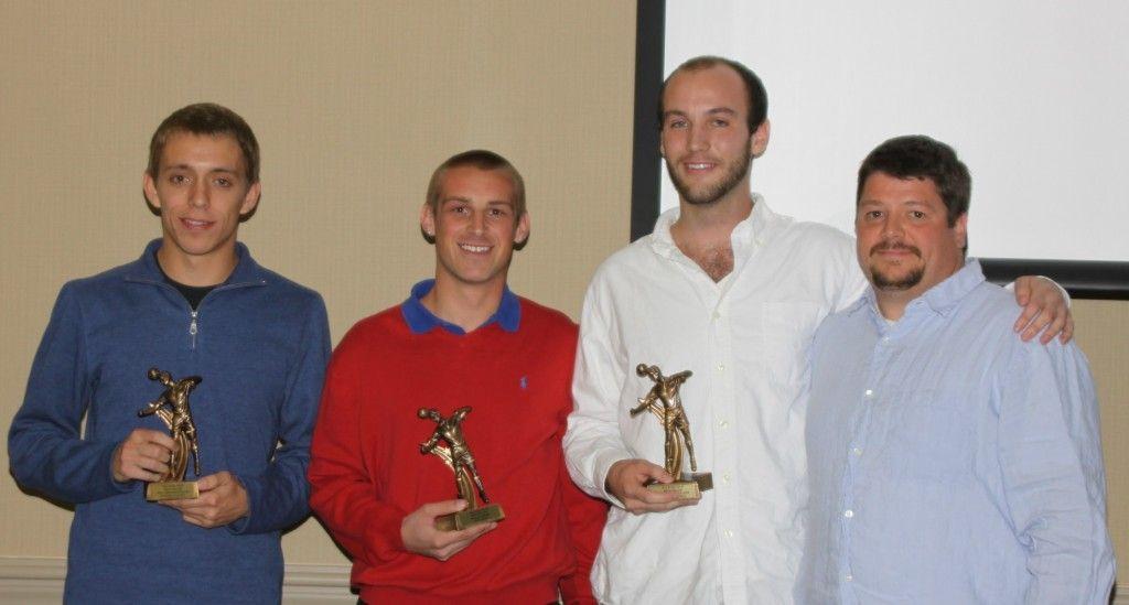 Thomas receiving MVP award for Wake Tech Soccer 2012