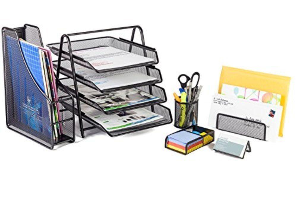 Mesh Office Desk Set 6 Piece File Tray Folder Business Card Holder ...