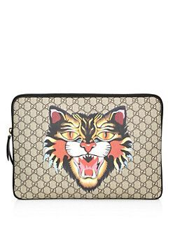 75246fe8294c Gucci - Angry Cat-Print GG Supreme Laptop Case | Designer Fashions ...