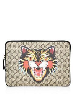 4122c04f83baf3 Gucci - Angry Cat-Print GG Supreme Laptop Case | Designer Fashions ...