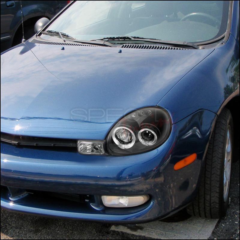 Spec D Projector Headlights Dodge Neon Dual Halo Led 2000 2002 Black Or Chrome Projector Headlights Dodge Halo Led Lights