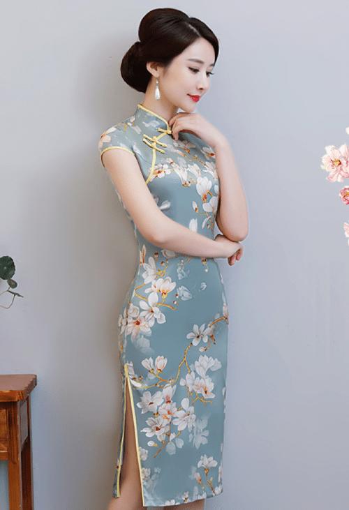 Satin Orientalische Blumen Sommer Blau Chinesisch Kurzes Kleid Cheongsam Qipao