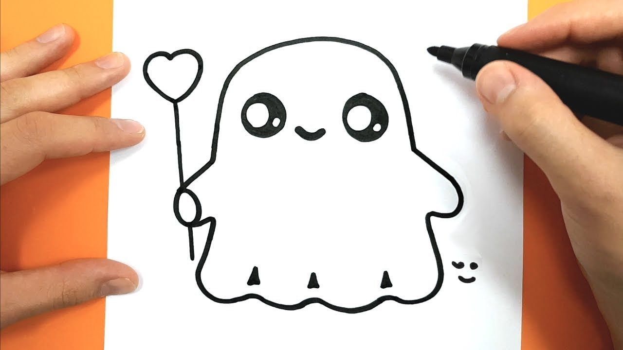 How To Draw And Color A Cute Ghost Easy Drawing Tutorial