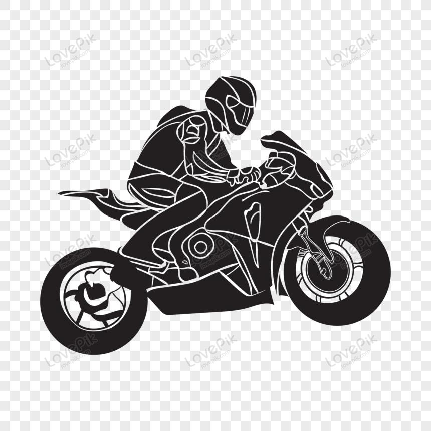 Motorcycle Vector Silhouette Siluet Kartu Pos Grafik