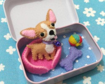 Cute Dog Bed Etsy Felt Toys Holiday Crafts For Kids Puppy Crafts