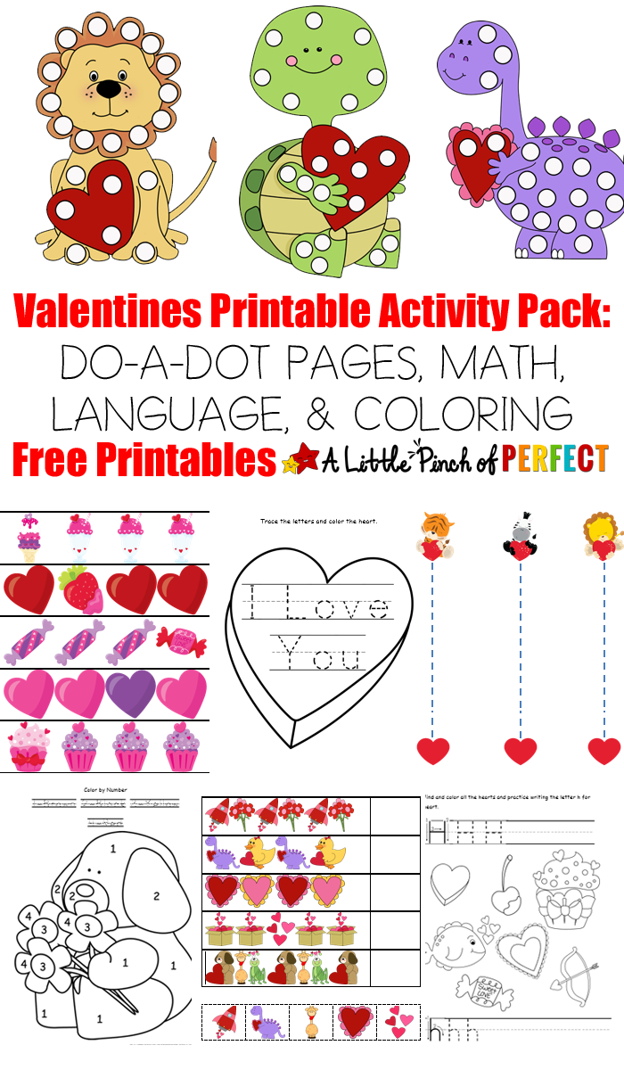 Free Valentine\'s Day Printable Activity Pack: 20 PAGES MATH AND ...