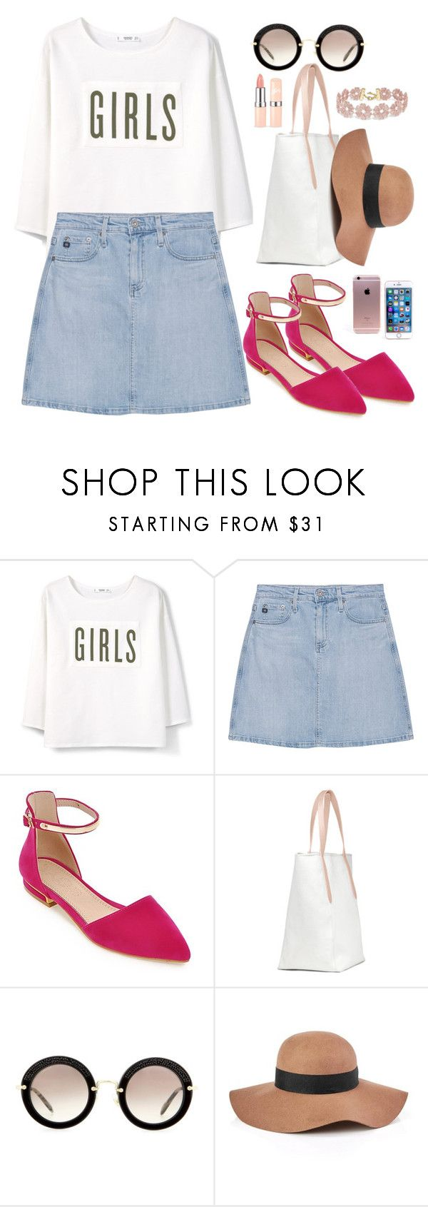 """""""Untitled #1741"""" by anarita11 ❤ liked on Polyvore featuring MANGO, AG Adriano Goldschmied, Miu Miu, Reiss and BaubleBar"""