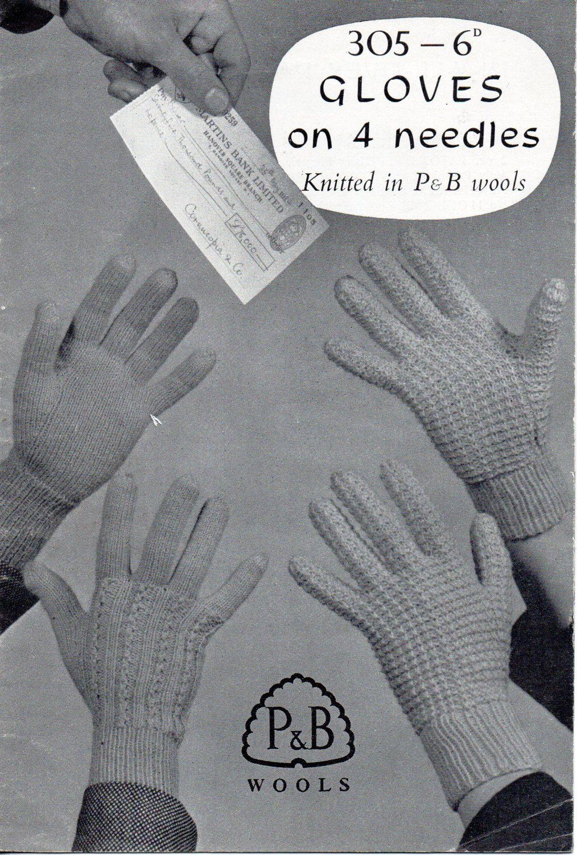 Plain Gloves Knitting Pattern : Womens gloves knitting pattern 1950s patterned lace plain 4 needles 2 ply 3 p...