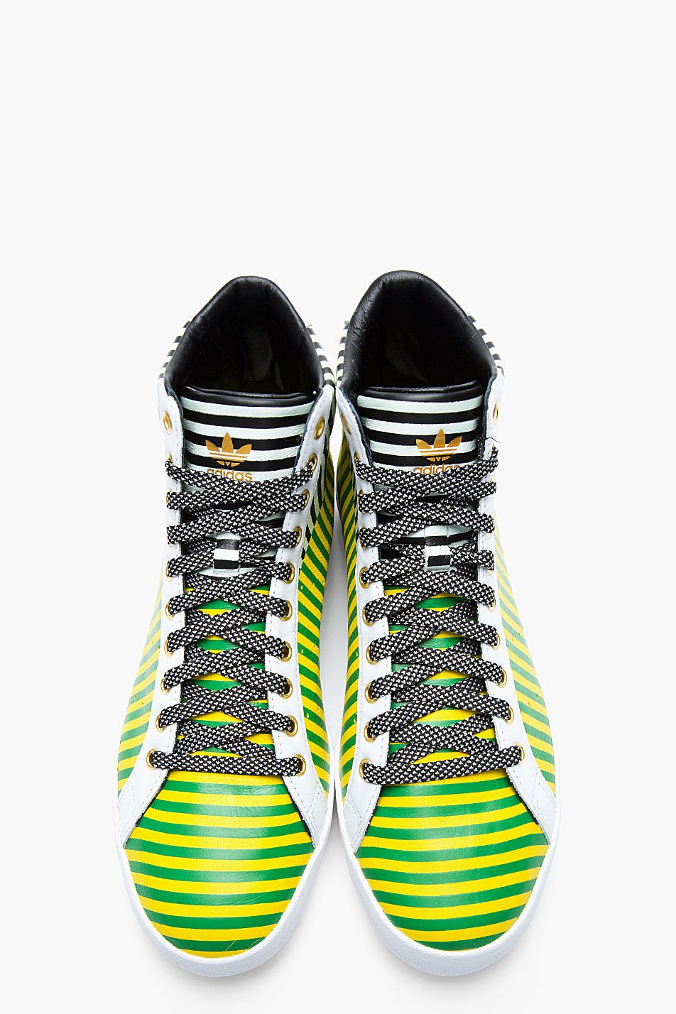 release date: 5647c 9eb62 ADIDAS ORIGINALS BY O.C. Green and yellow striped leather Rod Laver Vintage  mid-tops