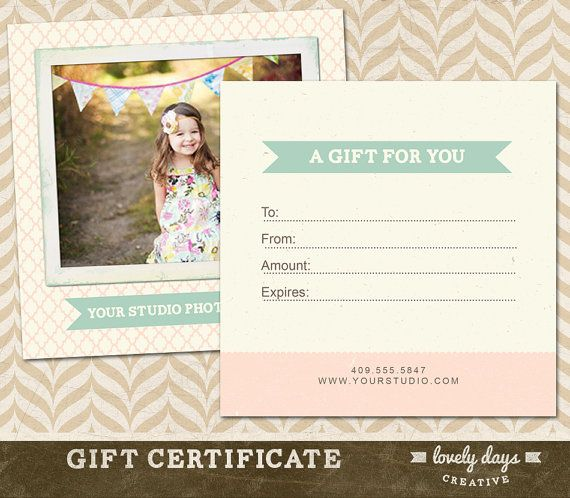 Photography Gift Certificate Template for by LovelyDaysCreative - gift card certificate template