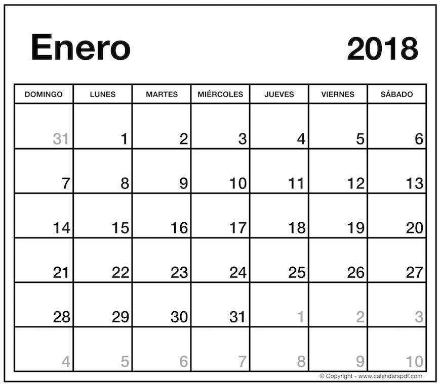 Calendario Din A4.Enero 2018 Calendario Espana Para Imprimir En El Paisaje A4