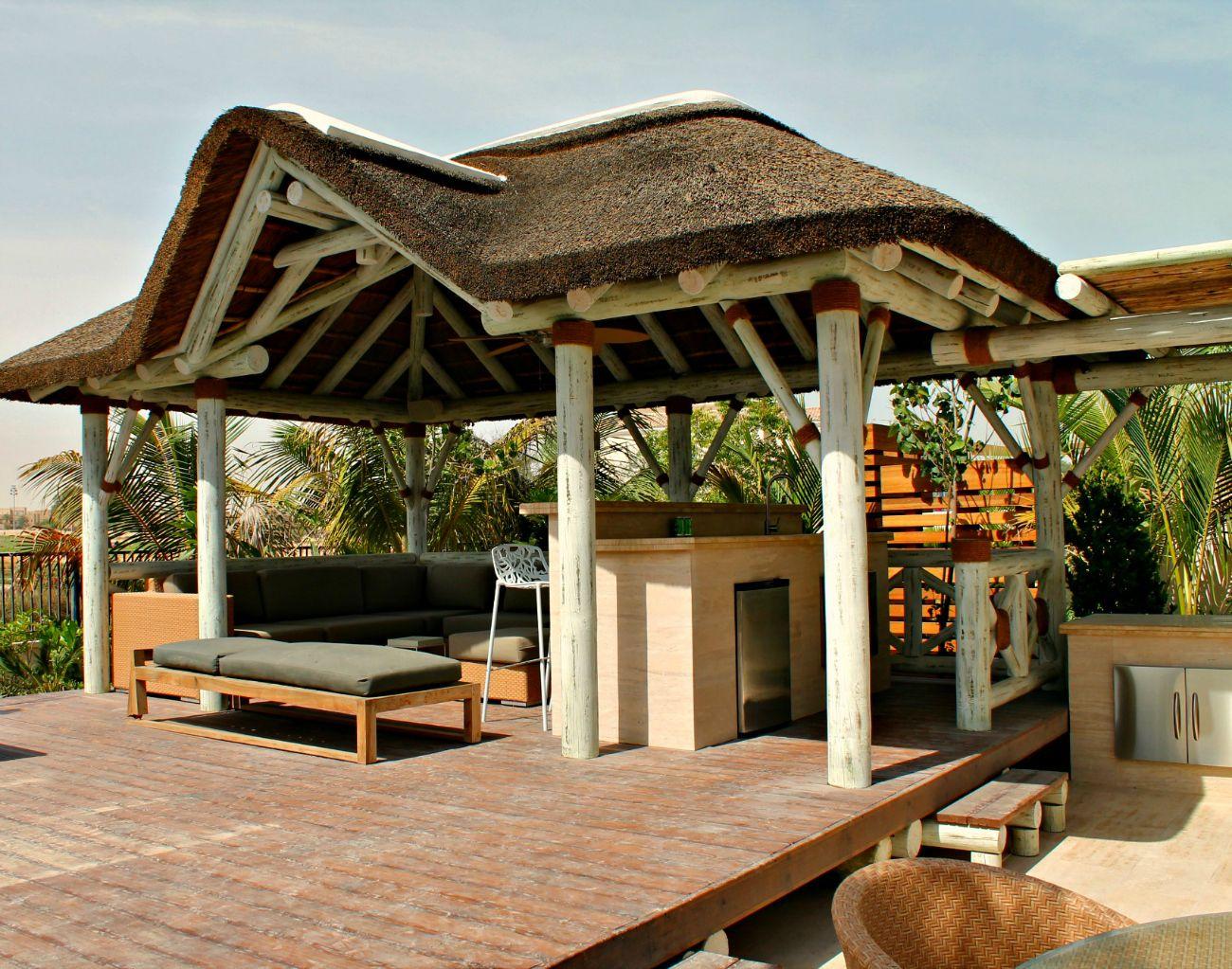 Modern Whitewash Thatched Gazebo With Outdoor Seating, Pergola U0026 Kitchen!