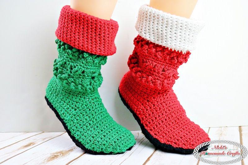 Adult Christmas Santa and Elf Booties Crochet Along - by Nicki\'s ...