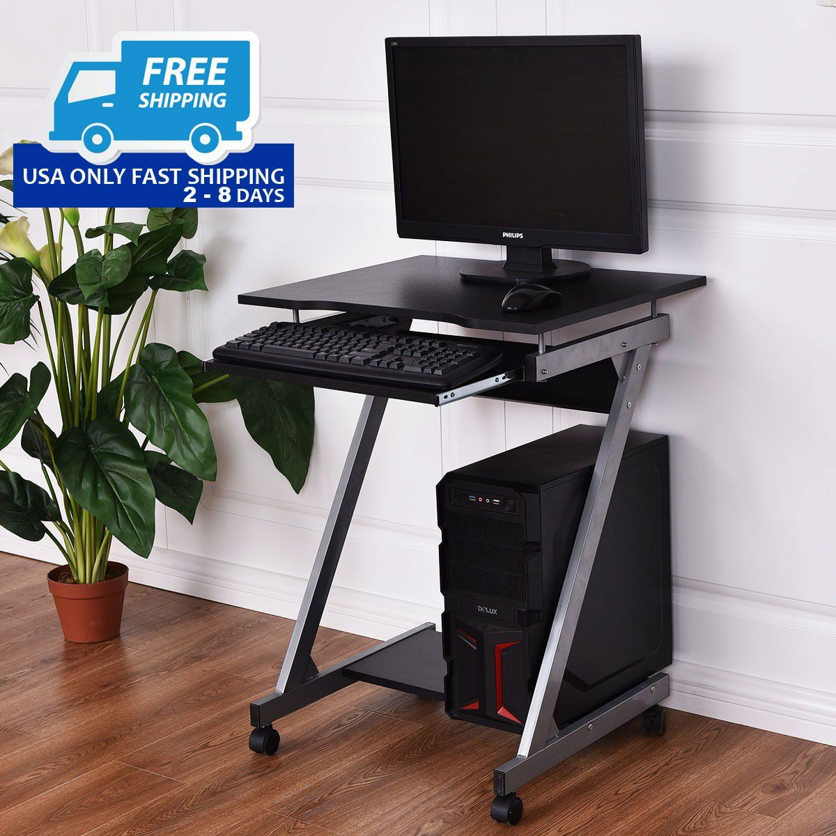 - Computer Desk With Keyboard Shelf + Wheels Computer Desk Design