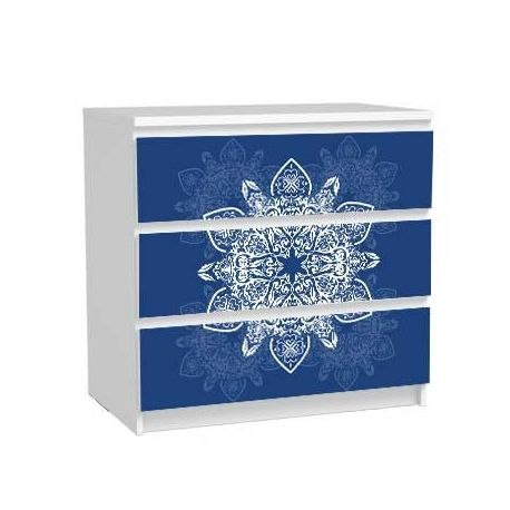 Sticker commode malm meuble bleu #ikea #relooking DIY hack