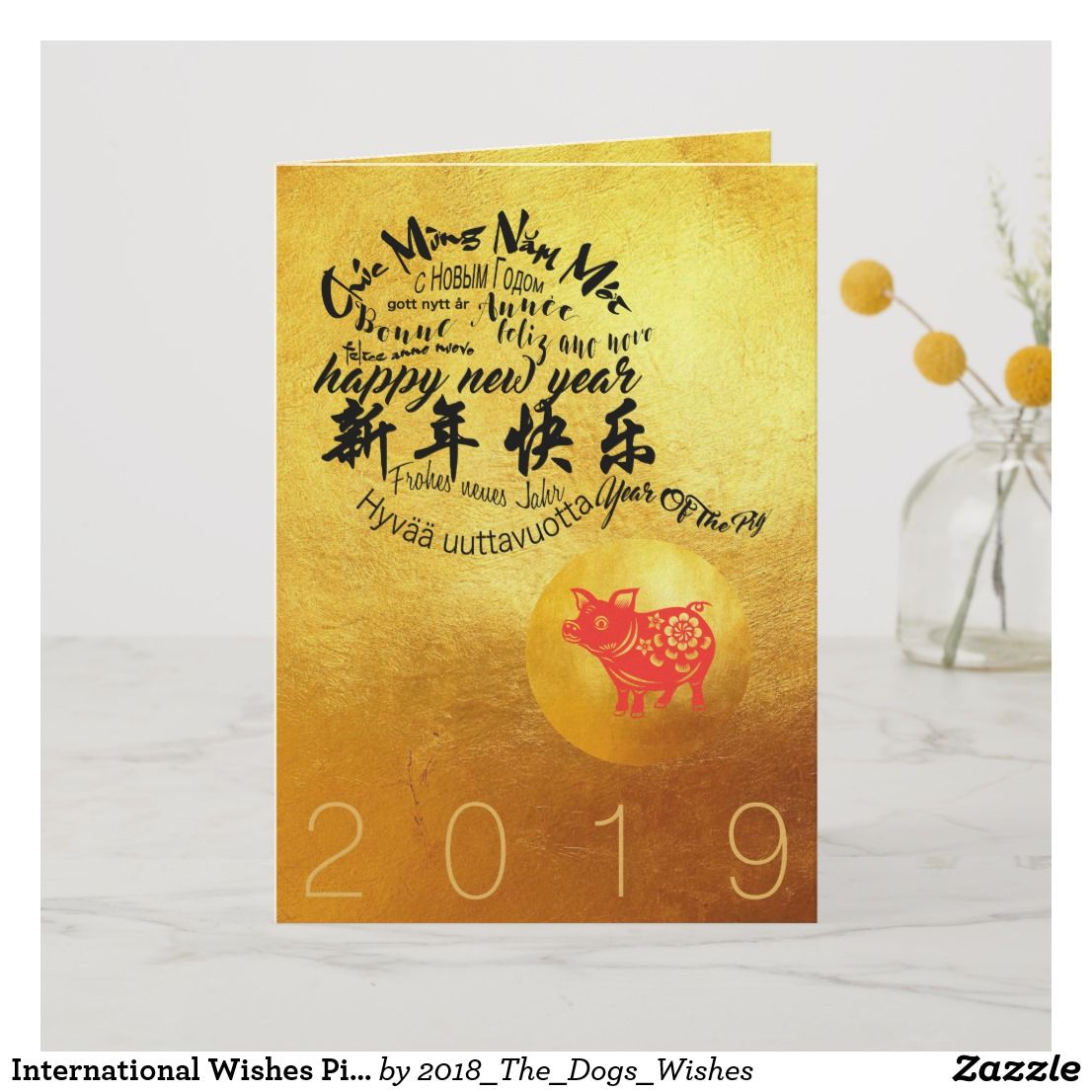 International Wishes Pig Year 2019 Golden Greetng Card