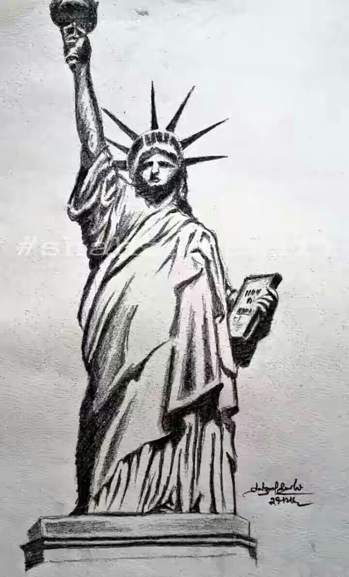 Pencil sketch statue of liberty shahzad saifi sketch in 2019