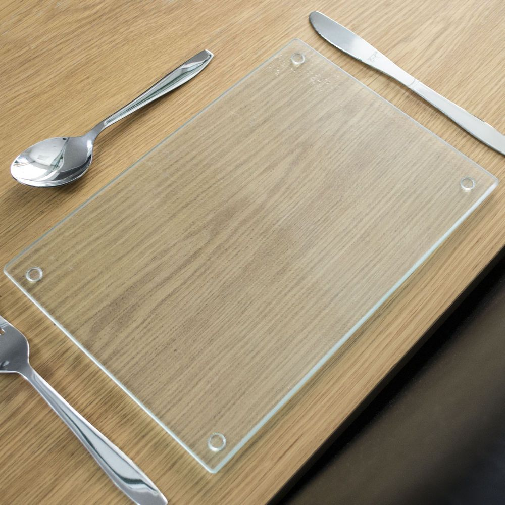 Rippled Clear Glass Placemats Rectangle Tableware Dinner Dining