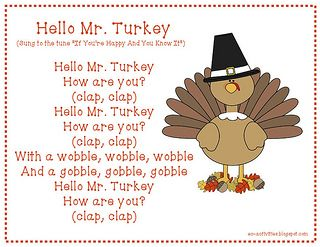 Hello Mr Turkey Thanksgiving Song Thanksgiving Kindergarten