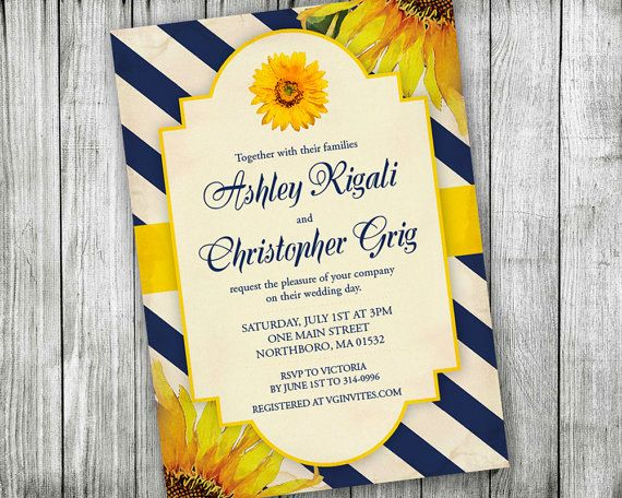 Cheap Sunflower Wedding Invitations: Sunflower And Navy Blue Wedding Invitation By VGInvites On