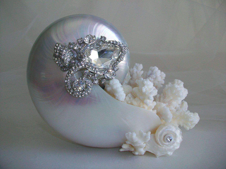 Beach Theme Wedding Cake Topper Nautilus Shell Jeweled Pearl Coral Seashell Decor