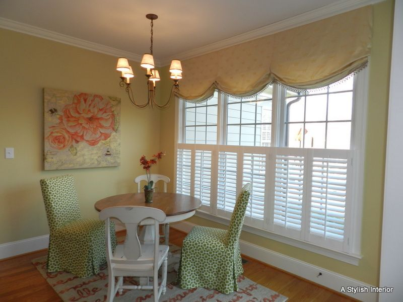 Triple Window Treatments Relaxed Roman Shades W Pattern With