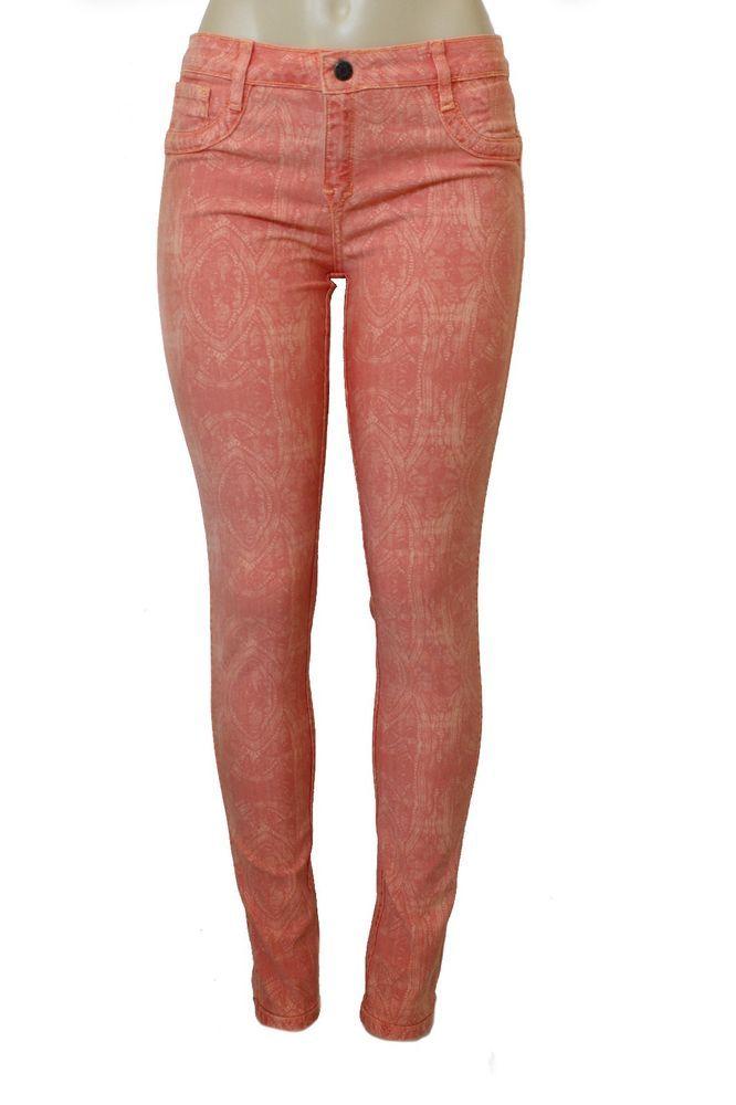 NWOT BLEULAB Women's Skinny Jeans Legging Jegging Orange Lace 24 27 31  #Bleulab #SlimSkinny