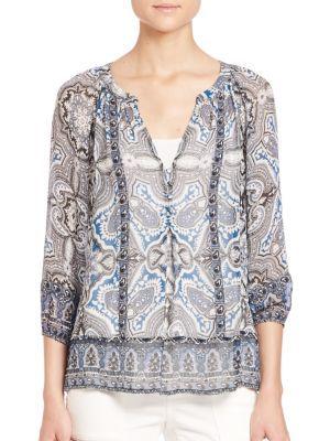 JOIE Gloria D Tabitha-Print Silk Blouse. #joie #cloth #blouse
