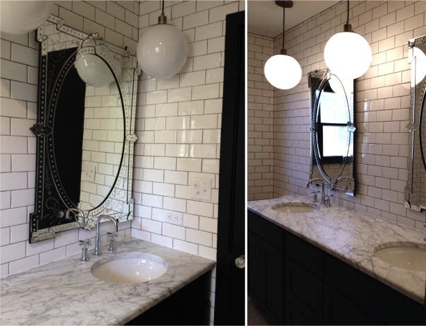 Project Britney Bathroom Christine Dovey Style Globe Lights Subway Tile Dark Grout Venetian Mirrors Marble Counters