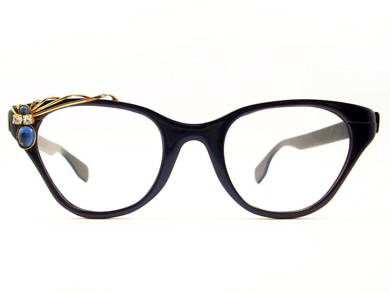 cat eye glasses image | Eyeglasses Frames Eyewear Sunglasses 50S: VINTAGE CAT EYE GLASSES ...