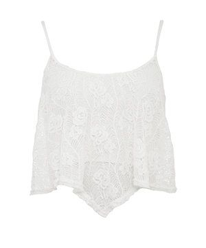 Cream (Cream) Cream Floral Lace Swing Crop Top | 278880013 | New Look