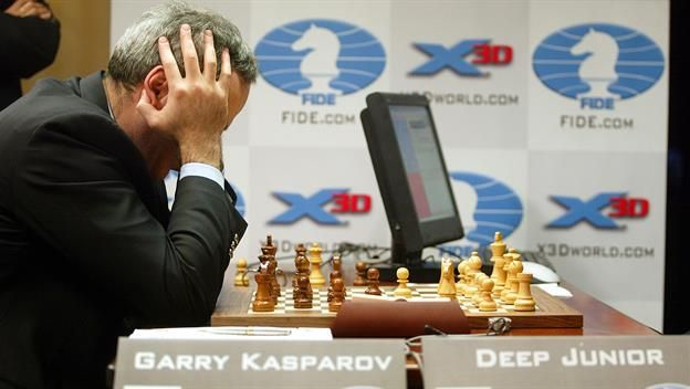 On this day in 1996, after three hours, world chess champion Gary Kasparov loses the first game of a six-game match against Deep Blue, an IBM computer capable of evaluating 200 million moves per second.