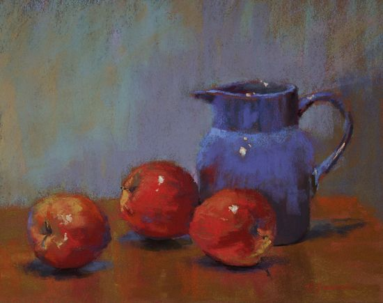 Apples and a Pitcher by Barbara Jaenicke Pastel ~ 11 x 14