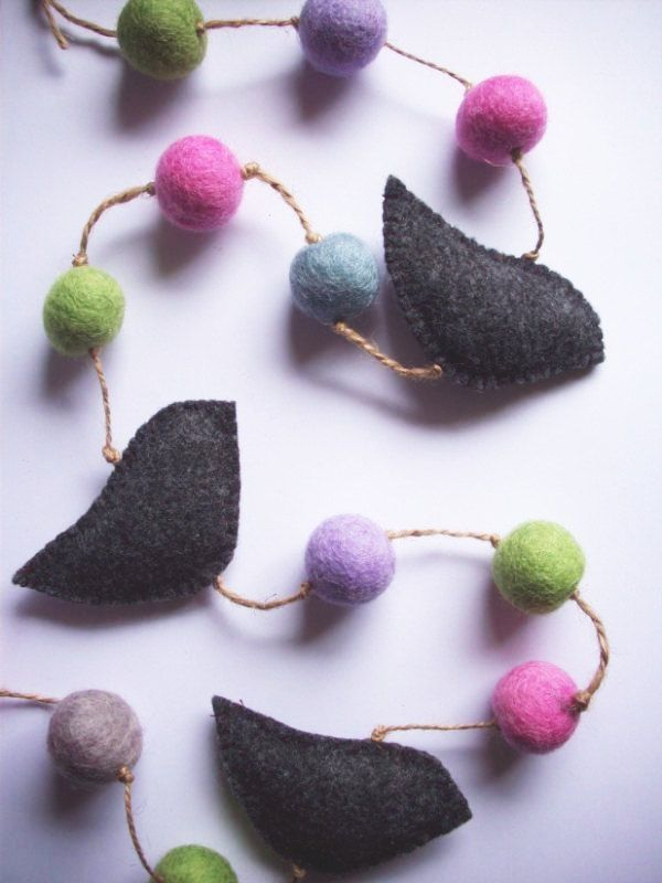 Felt Ball &  Bird Garland (120cm). $25.00, via Etsy.