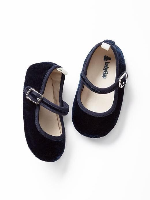 9f9bbd7097b GAP Baby Girl Size 0-3 Months NWT Navy Blue Velvet Mary Jane Flats Shoes