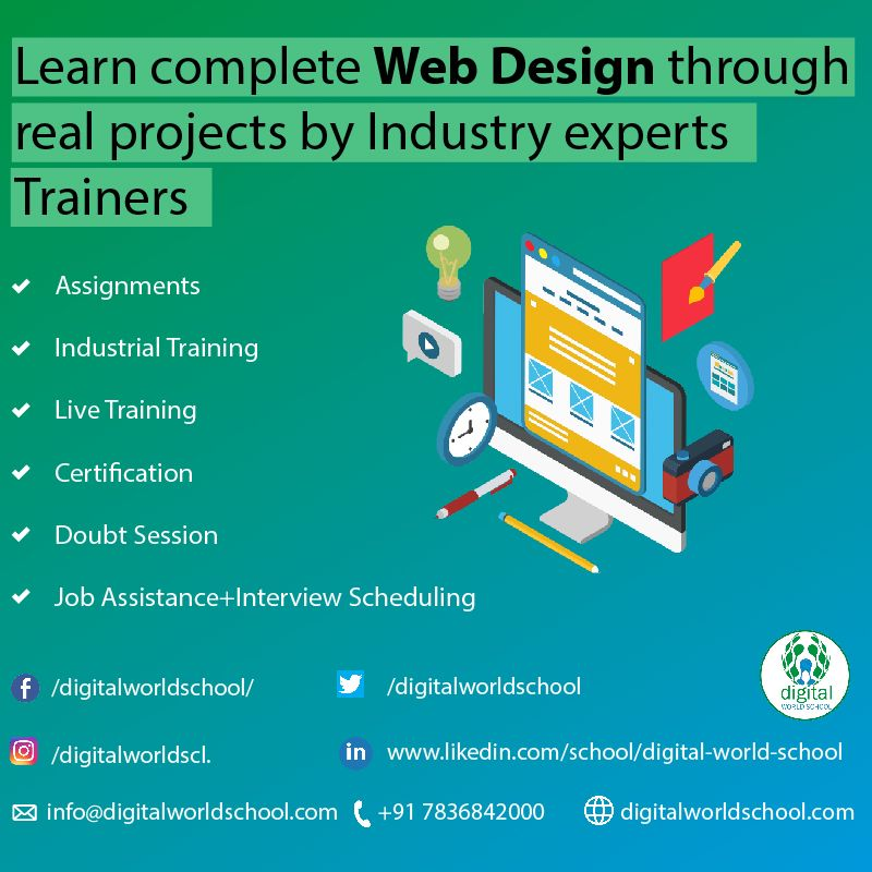 Learn Complete Web Design Through Real Projects By Industry Experts Trainers Website Redesigning Html Page Design Website Design Design Development Web Design