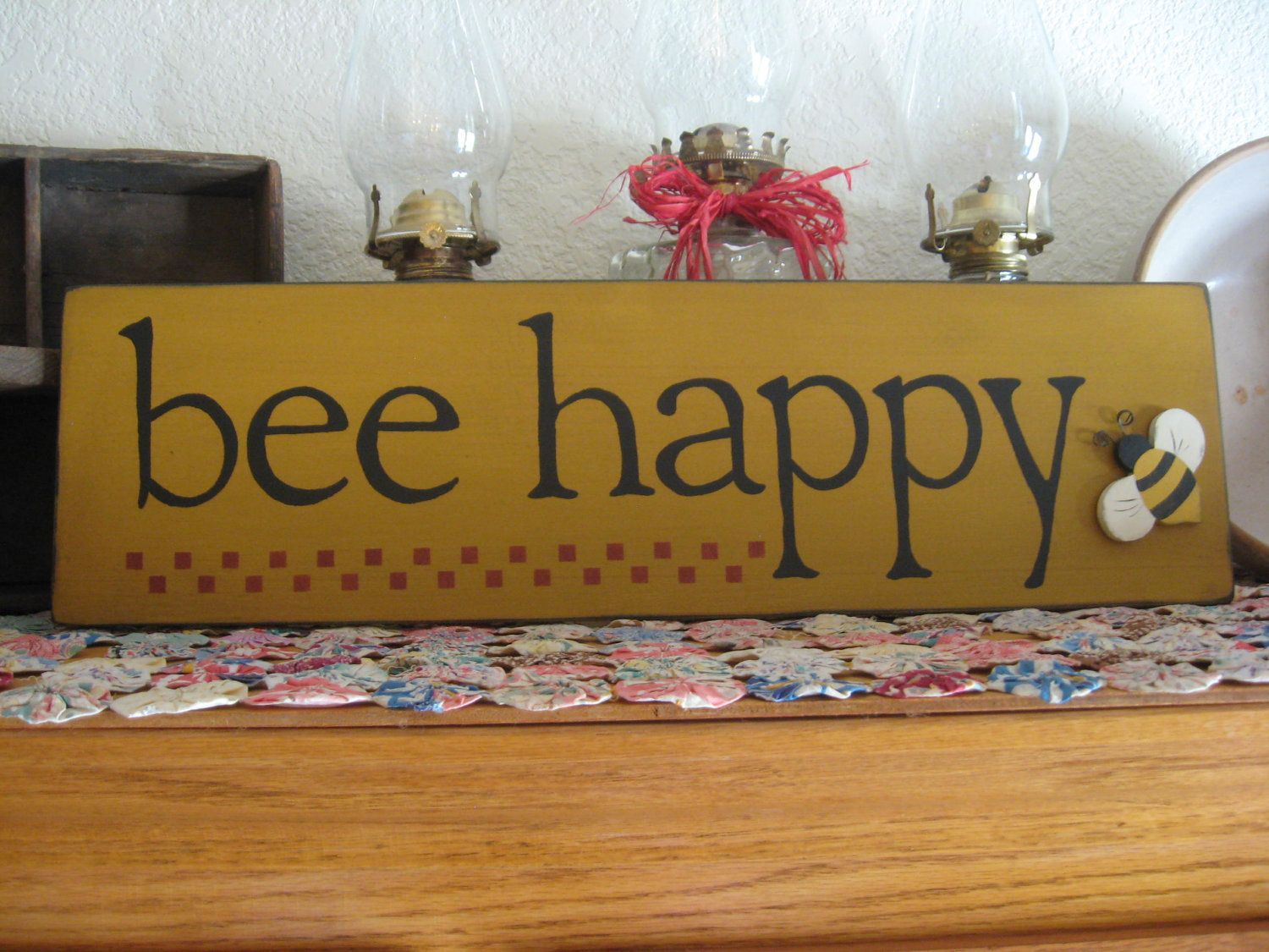 Primitive Country Wood Sign Bee Happy 11 99 Via Etsy
