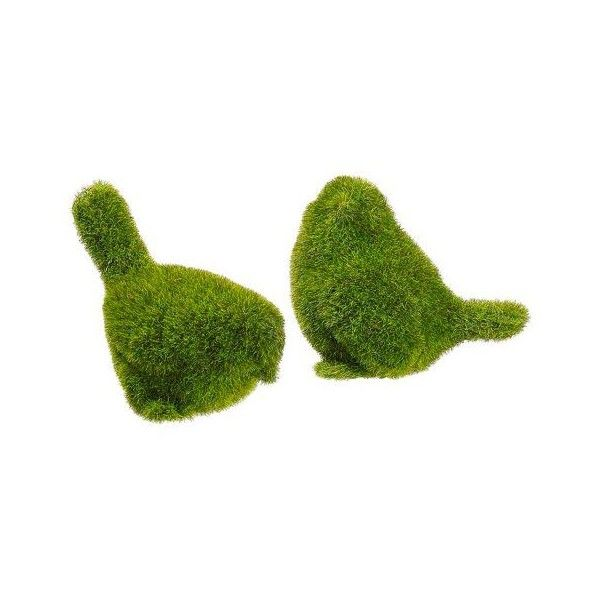 (29) Adorable moss covered birds in green. Perfect for Easter... ❤ liked on Polyvore featuring home, home decor, bird home decor, spring home decor, easter centerpieces, spring centerpieces and easter home decor