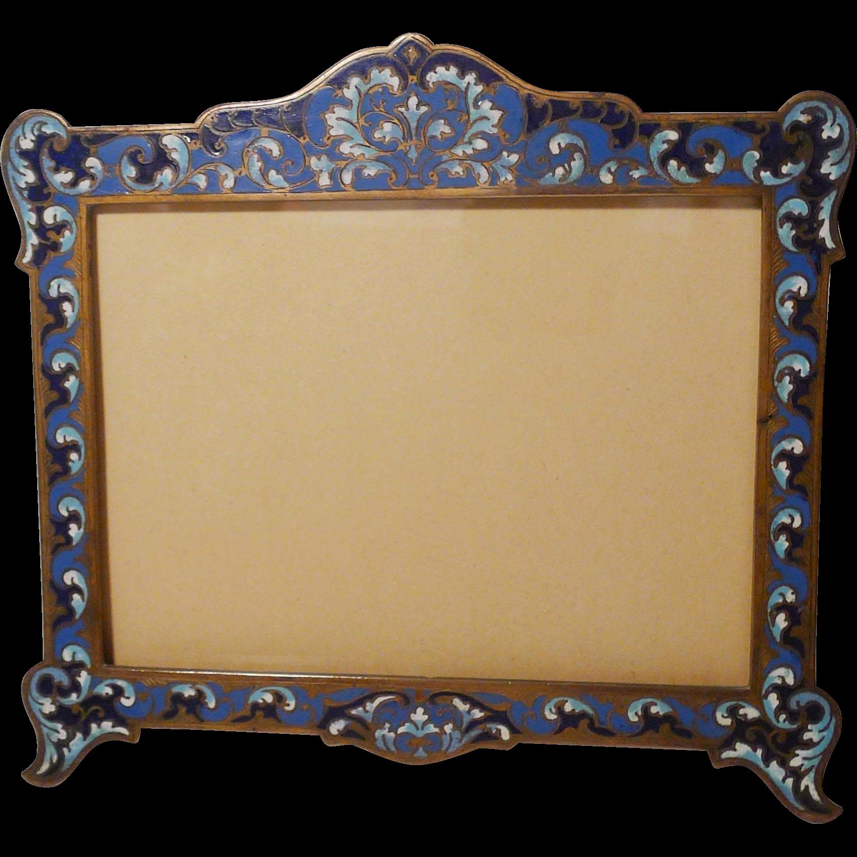 French bronze champleve enamel picture frame horizontal french bronze champleve enamel picture frame jeuxipadfo Choice Image