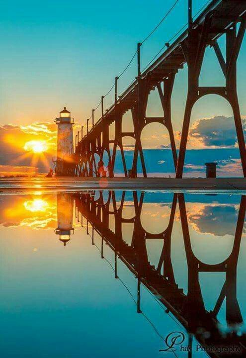 Manistee, MI, pier head lighthouse. Photo submitted to Pure Michigan by Philip Loretta Steury. ♠ re-pinned by http://www.waterfront-properties.com/