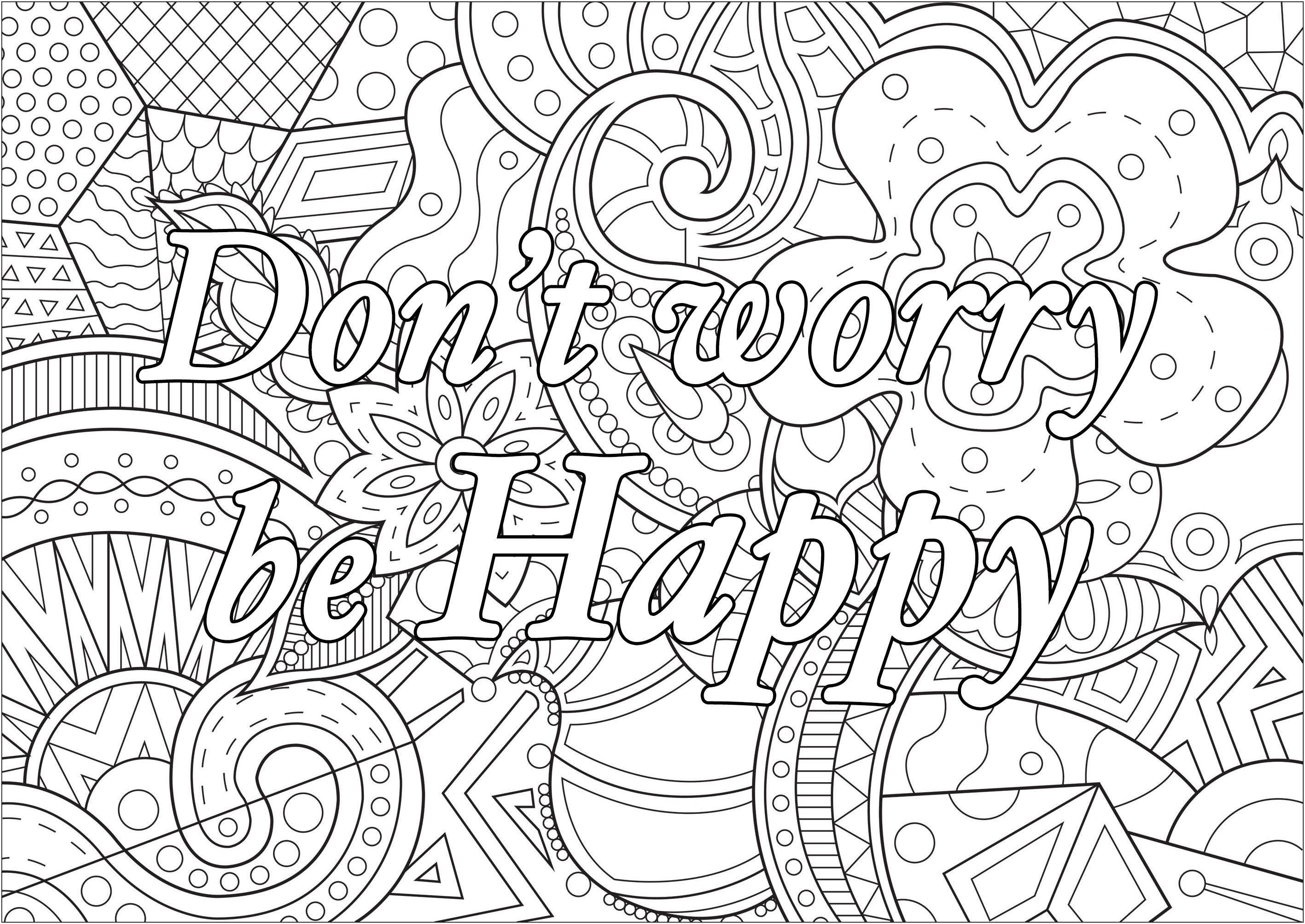 Don T Worry Be Happy Coloring Pages