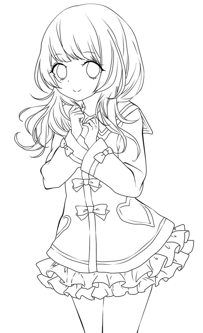 Line Drawing Girl : Cute anime girl lineart by chifuyu san on deviantart