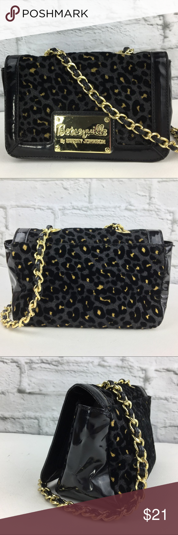 d9d55868160e Betsey Johnson bag leopard print chain strap small Betsey Johnson bag  leopard print chain strap small