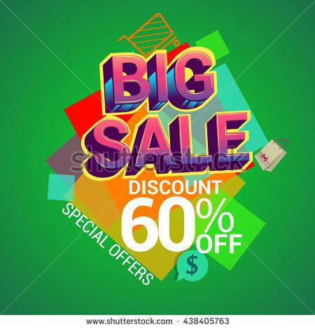 Big sale promo department store, Big sale discount banner template design with colorful geometric background. Sale banner template design.