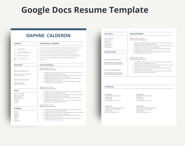 Google Resume Templates Docs